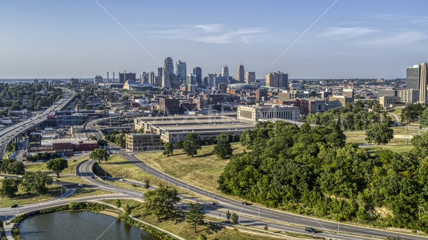 A government office building and city's skyline in the background, Kansas City, Missouri Aerial Stock Photo DXP001_045_0002 | Axiom Images