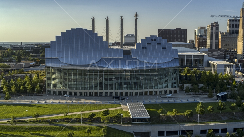 A view of the Kauffman Center for the Performing Arts in Downtown Kansas City, Missouri Aerial Stock Photo DXP001_045_0013 | Axiom Images