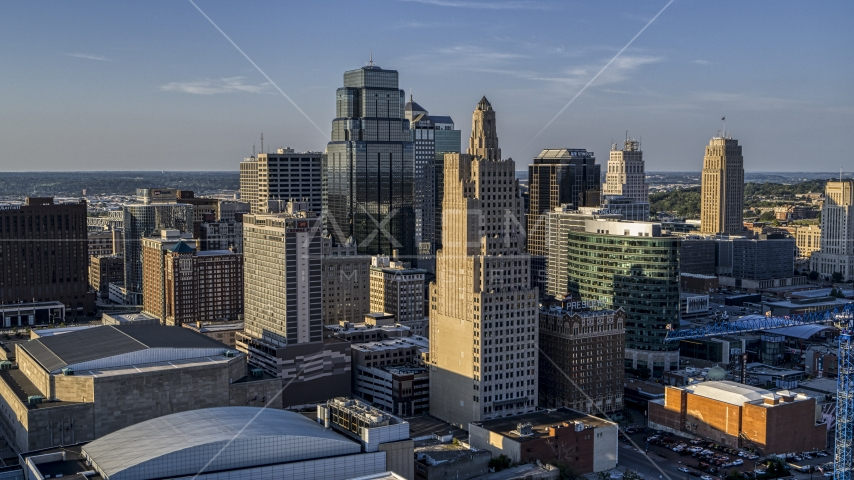 Towering city skyscrapers in Downtown Kansas City, Missouri Aerial Stock Photo DXP001_045_0016 | Axiom Images