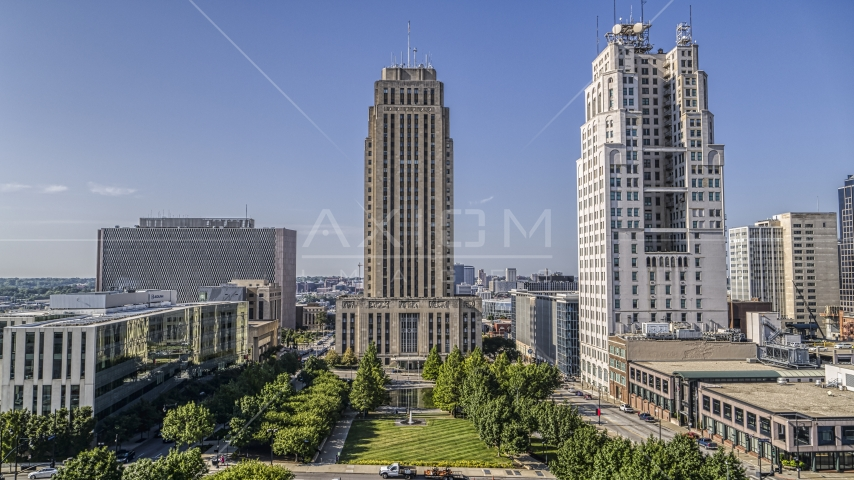 City hall seen from the park in Downtown Kansas City, Missouri Aerial Stock Photo DXP001_049_0001 | Axiom Images
