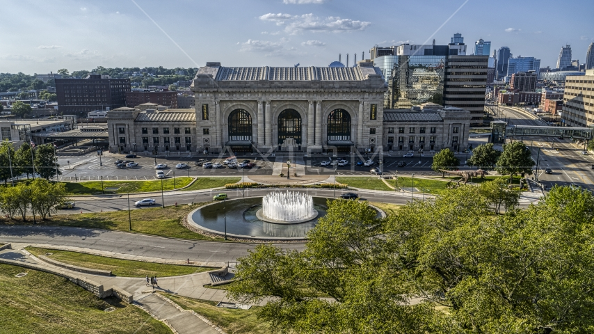 Historic train station and fountain in Kansas City, Missouri Aerial Stock Photos | DXP001_050_0001