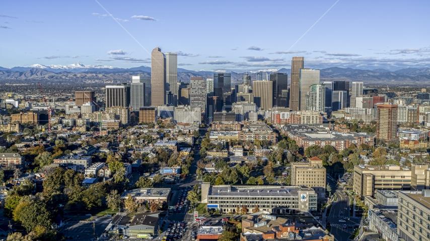 The city's skyscrapers in Downtown Denver, Colorado Aerial Stock Photos | DXP001_052_0008