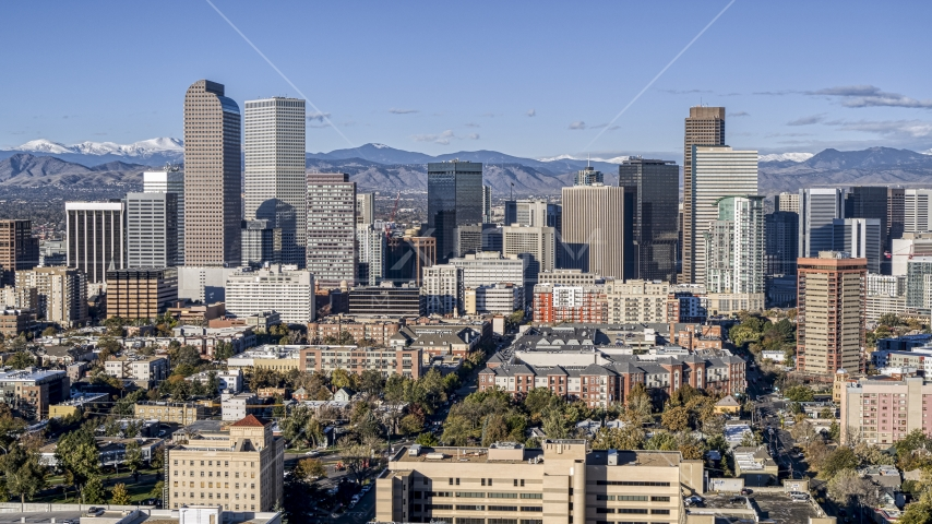 Skyscrapers of the city's skyline in Downtown Denver, Colorado Aerial Stock Photos | DXP001_053_0001