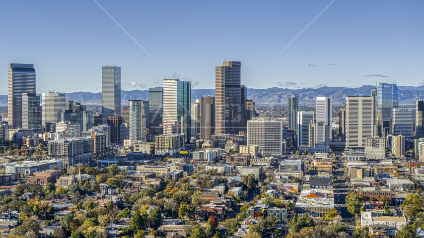 A view of the city's skyline in Downtown Denver, Colorado Aerial Stock Photos | DXP001_053_0002