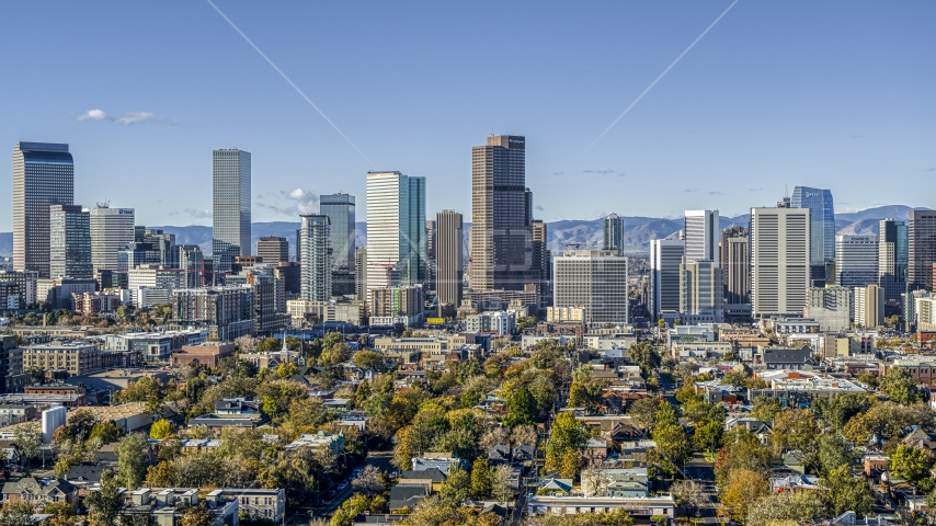A view of skyscrapers in skyline of Downtown Denver, Colorado Aerial Stock Photos | DXP001_053_0003