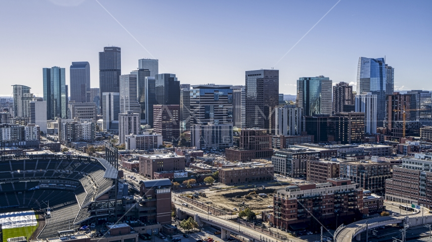 The tall skyscrapers of the Downtown Denver, Colorado skyline Aerial Stock Photos | DXP001_054_0001
