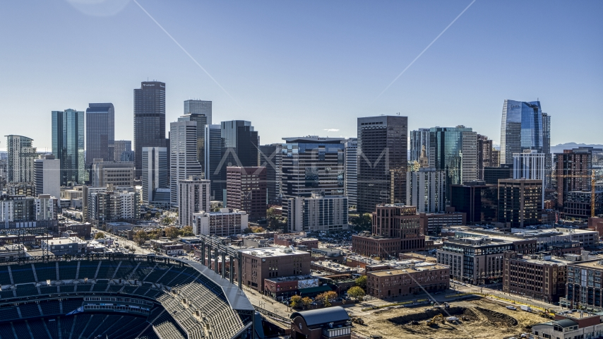 The city skyline seen from stadium in Downtown Denver, Colorado Aerial Stock Photos | DXP001_054_0002