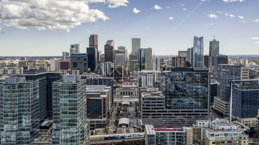 The city's skyline seen from office buildings in Downtown Denver, Colorado Aerial Stock Photos | DXP001_055_0001