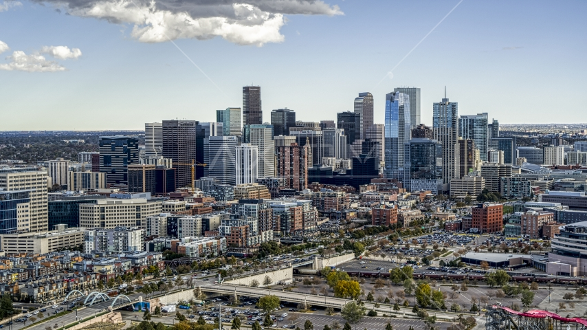 A view of the skyline in Downtown Denver, Colorado Aerial Stock Photos | DXP001_055_0010