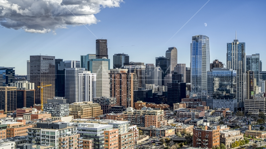 Giant skyscrapers of the city skyline in Downtown Denver, Colorado Aerial Stock Photos | DXP001_055_0018
