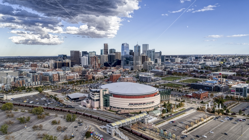 The arena with the city skyline in the background, Downtown Denver, Colorado Aerial Stock Photos | DXP001_056_0001