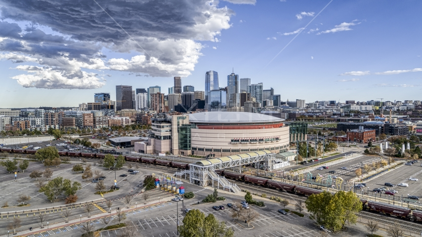 The Pepsi Center arena with the city skyline in the background, Downtown Denver, Colorado Aerial Stock Photos | DXP001_056_0002