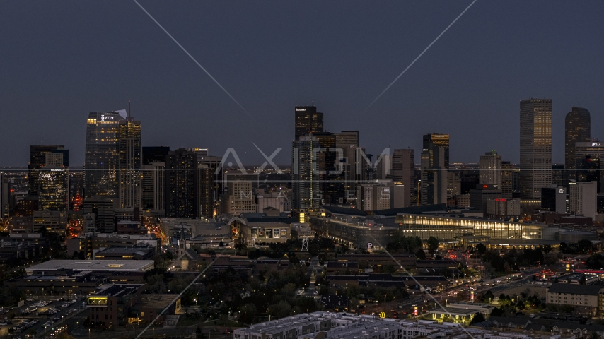 The city's towering skyscrapers and convention center at twilight, Downtown Denver, Colorado Aerial Stock Photos | DXP001_057_0004