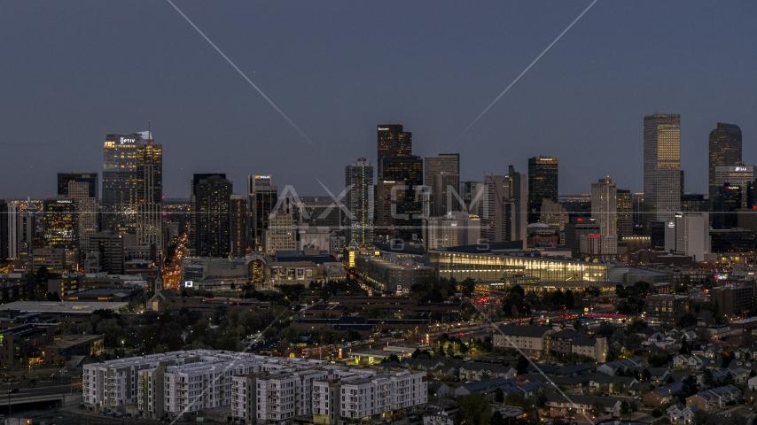 The city's skyline and convention center at twilight, Downtown Denver, Colorado Aerial Stock Photos | DXP001_057_0005