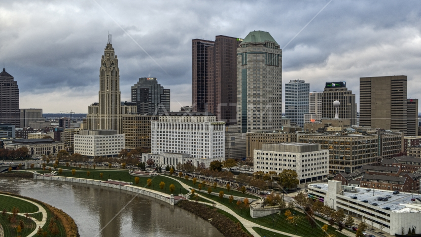 The city skyline by the Scioto River, Downtown Columbus, Ohio Aerial Stock Photos | DXP001_087_0002