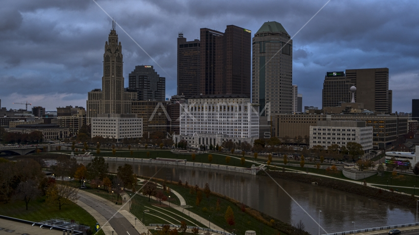 The city skyline and the Scioto River, Downtown Columbus, Ohio Aerial Stock Photos DXP001_087_0005