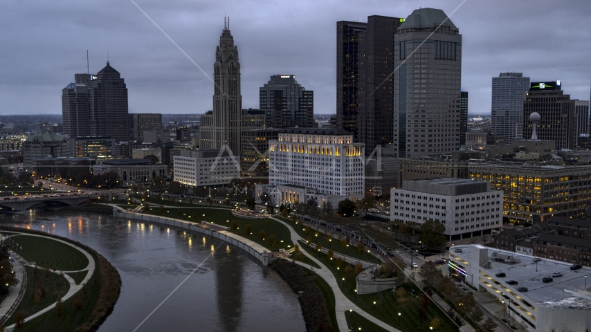 The Scioto River and city skyline at twilight, Downtown Columbus, Ohio Aerial Stock Photos | DXP001_087_0008
