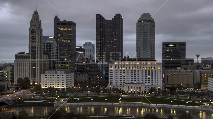 Scioto River and the city skyline at twilight, Downtown Columbus, Ohio Aerial Stock Photos | DXP001_087_0009