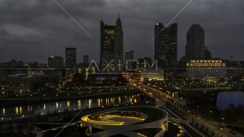A view of the city skyline across the bridge and river at twilight, seen from the concert hall, Downtown Columbus, Ohio Aerial Stock Photos | DXP001_088_0004
