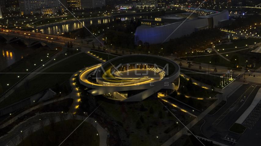 The Veterans Memorial Auditorium concert hall at twilight in Columbus, Ohio Aerial Stock Photos DXP001_088_0008 | Axiom Images