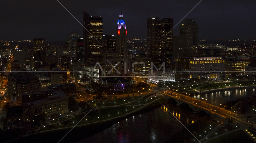 The city skyline at night, Downtown Columbus, Ohio Aerial Stock Photos | DXP001_088_0012
