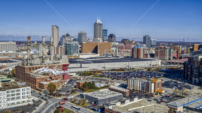 A brick factory, convention center and city skyline, Downtown Indianapolis, Indiana Aerial Stock Photos | DXP001_089_0002