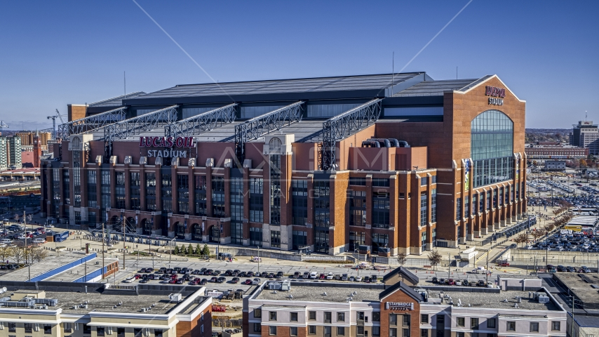 A football stadium in Indianapolis, Indiana Aerial Stock Photo DXP001_089_0003 | Axiom Images