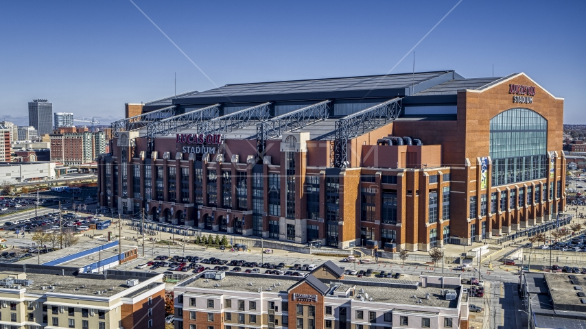 The side of a football stadium in Indianapolis, Indiana Aerial Stock Photos | DXP001_089_0004
