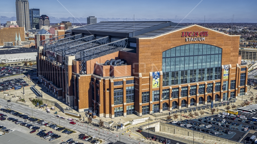 The front of a football stadium in Indianapolis, Indiana Aerial Stock Photo DXP001_089_0006 | Axiom Images