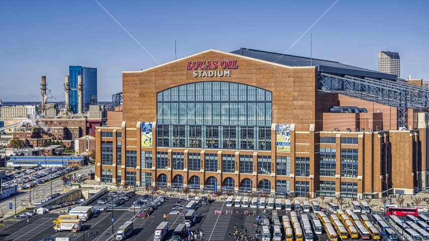 The front entrance of a football stadium in Indianapolis, Indiana Aerial Stock Photos | DXP001_089_0012