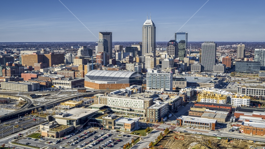 Arena and the city's skyline in Downtown Indianapolis, Indiana Aerial Stock Photos | DXP001_090_0002
