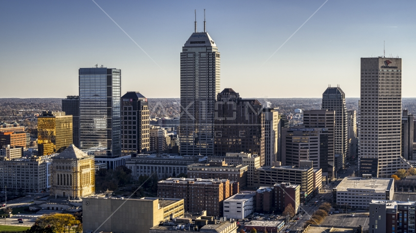 Salesforce Tower skyscraper at the center of Downtown Indianapolis, Indiana Aerial Stock Photos | DXP001_091_0001