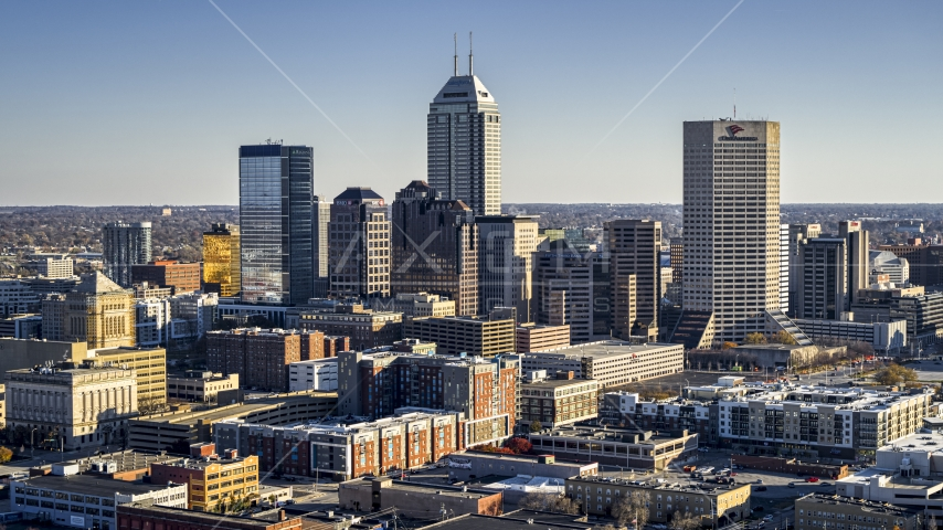 Salesforce Tower skyscraper and skyline of Downtown Indianapolis, Indiana Aerial Stock Photos | DXP001_091_0002