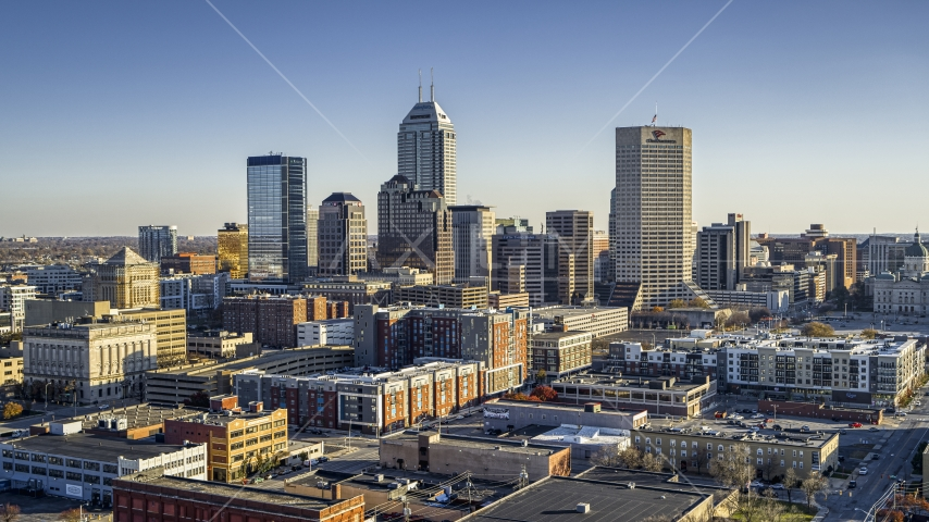 A view of the skyline in Downtown Indianapolis, Indiana Aerial Stock Photos | DXP001_091_0004