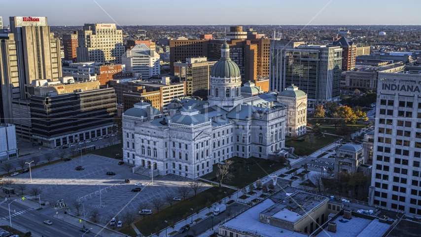 The Indiana State House in Downtown Indianapolis, Indiana Aerial Stock Photo DXP001_091_0008 | Axiom Images