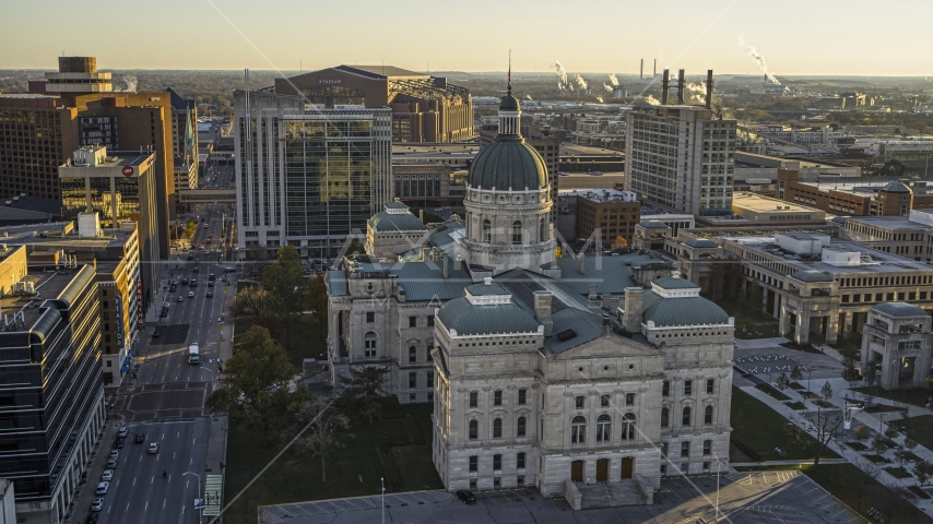 A view of the Indiana State House in Downtown Indianapolis, Indiana Aerial Stock Photos | DXP001_091_0009