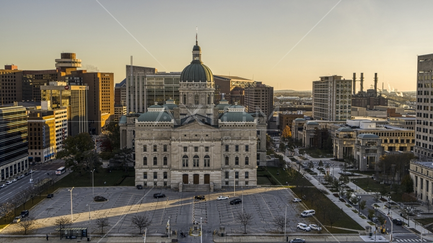 The front of the Indiana State House building in Downtown Indianapolis, Indiana Aerial Stock Photos | DXP001_091_0011