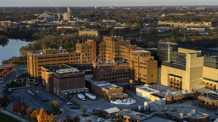 View of a VA hospital complex at sunset in Indianapolis, Indiana Aerial Stock Photos | DXP001_092_0003