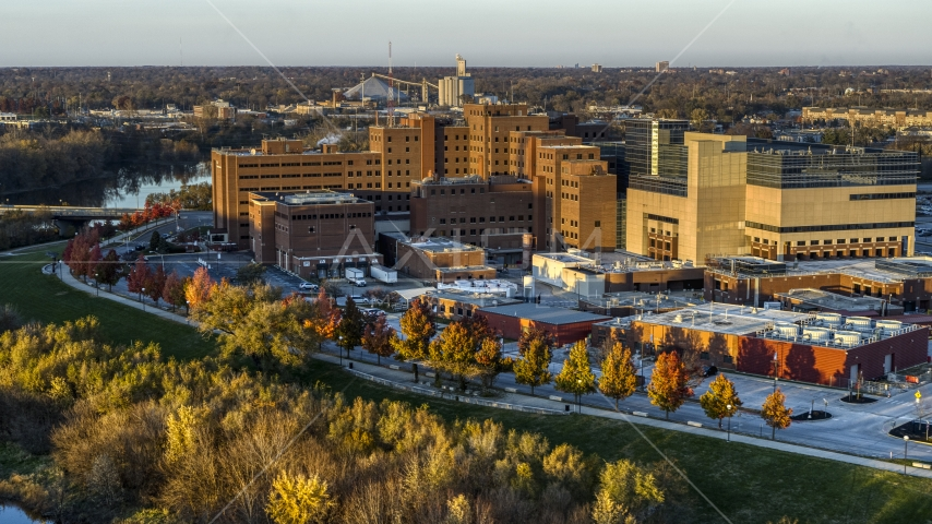 The VA hospital complex at sunset in Indianapolis, Indiana Aerial Stock Photos | DXP001_092_0004