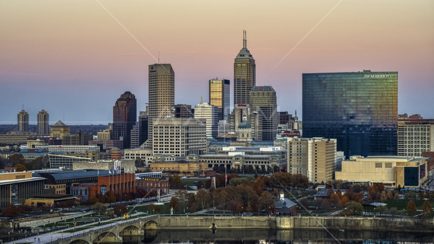 The JW Marriott hotel and city's skyline at sunset, Downtown Indianapolis, Indiana Aerial Stock Photos | DXP001_092_0017