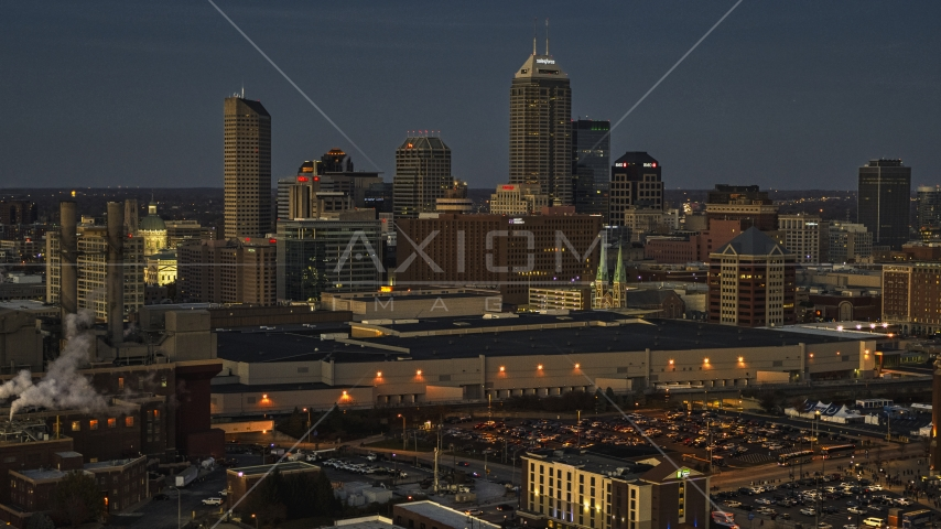 A twilight view of the city's skyline, Downtown Indianapolis, Indiana Aerial Stock Photos | DXP001_093_0002