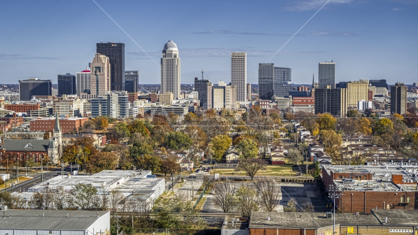 A view of the city's skyline, Downtown Louisville, Kentucky Aerial Stock Photo DXP001_094_0001 | Axiom Images