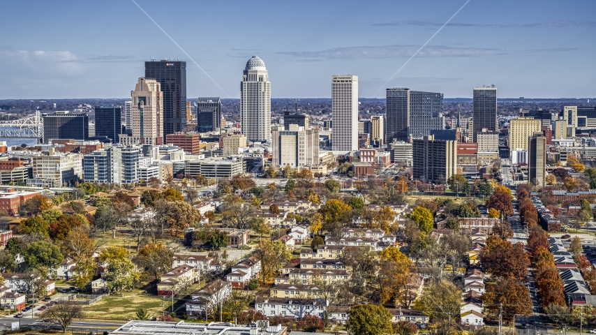 The city's skyline, seen from apartment buildings, Downtown Louisville, Kentucky Aerial Stock Photos | DXP001_094_0003