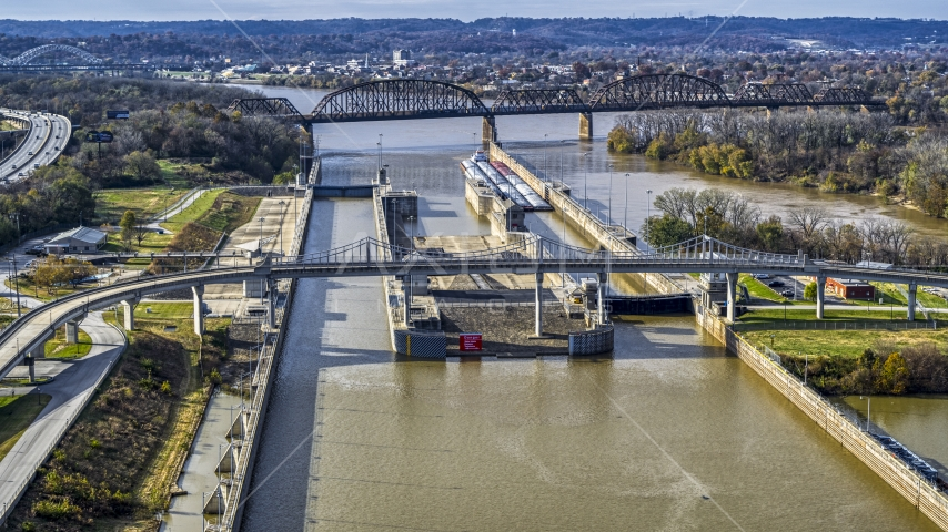 Locks and a dam on the Ohio River in Louisville, Kentucky Aerial Stock Photos | DXP001_094_0012