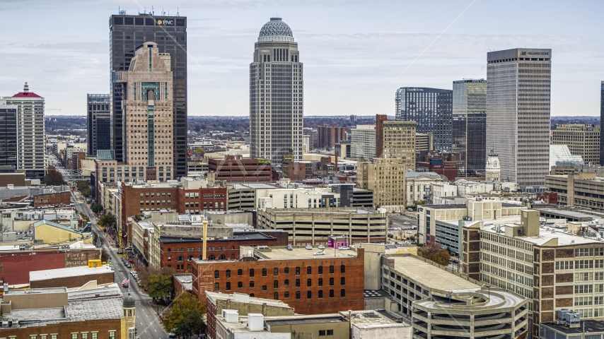 The city skyline from brick city buildings in Downtown Louisville, Kentucky Aerial Stock Photos | DXP001_095_0002