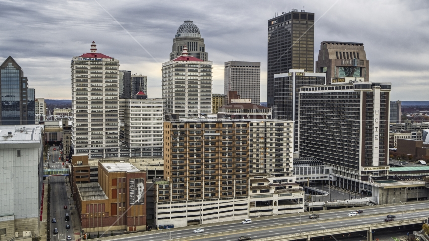 Hotel and skyline in Downtown Louisville, Kentucky Aerial Stock Photos | DXP001_095_0009