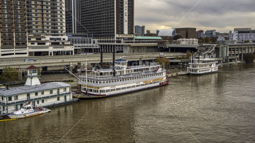 Historic riverboat docked by Downtown Louisville, Kentucky Aerial Stock Photos | DXP001_095_0016