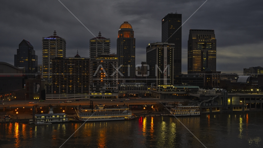 The city skyline of Downtown Louisville, Kentucky at nighttime Aerial Stock Photos | DXP001_096_0010