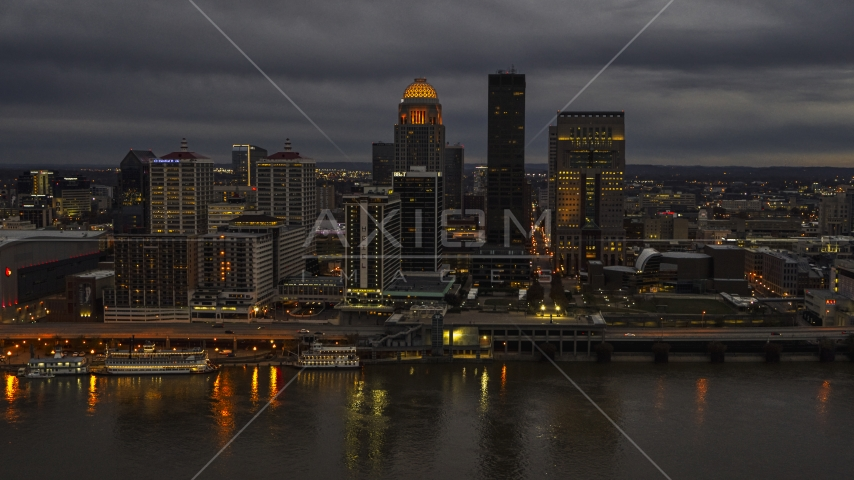 The city's skyline at night in Downtown Louisville, Kentucky Aerial Stock Photos | DXP001_096_0011