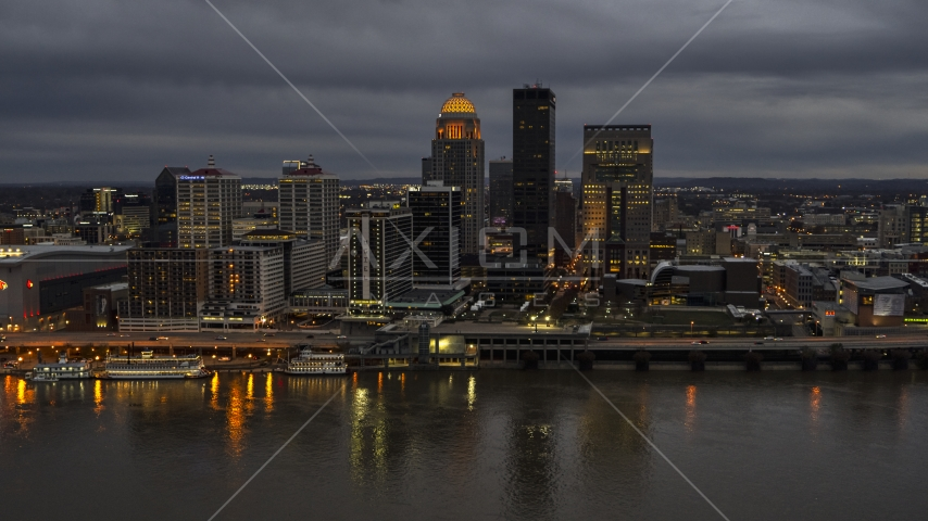 Skyscrapers and city buildings at night in Downtown Louisville, Kentucky Aerial Stock Photos | DXP001_096_0012